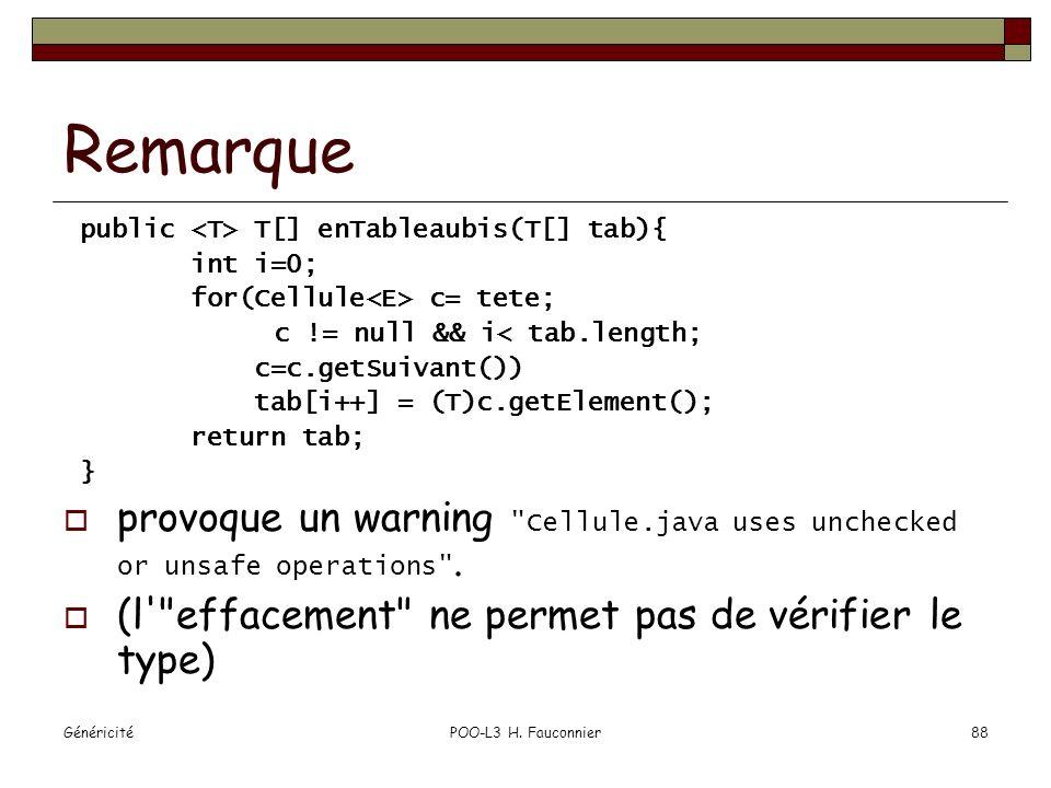 Remarque public <T> T[] enTableaubis(T[] tab){ int i=0; for(Cellule<E> c= tete; c != null && i< tab.length;